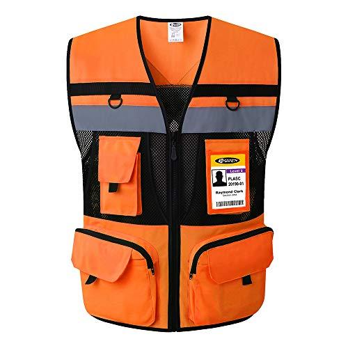 (JKSafety 10 Pockets Class 2 High Visible Reflective Safety Vest Zipper Front Large Back Pockets Breathable and Mesh Lining (Medium, Orange Black))