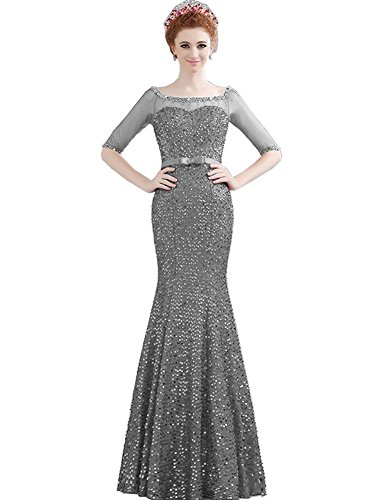Lange halbe Transparent Abendkleider Schulterfrei Ausschnitt Emily Hülsen Grau Boot Beauty xRqT0vw5x