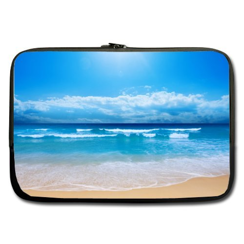 """Modern Design Tropical Paradise Beach Scene with the Sea Theme Soft Water-proof Neoprene Carrying Case Sleeve Bag For Macbook, Macbook Air/Pro 13 Inch All 13"""" Laptop Notebook(two sides)"""