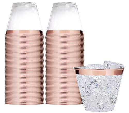 Elegant Rose Gold Rimmed 9 Oz Clear Plastic Tumblers Fancy Disposable Cups with Rose Gold Rim Prefect for Holiday Party Wedding and Everyday Occasions 100 Pack - Stock Your Home