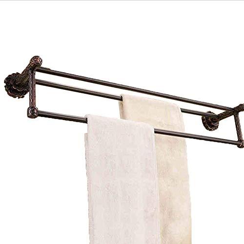 Achysj Towel Rack Towel Bar Continental High Pole Pure Copper Double Lever Antique Black Bronze Vintage Carved