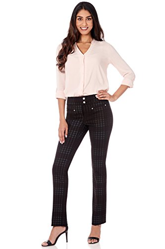 Rekucci Women's Secret Figure Pull-On Knit Straight Pant w/Tummy Control (8,Black/Multi - Accent Houndstooth