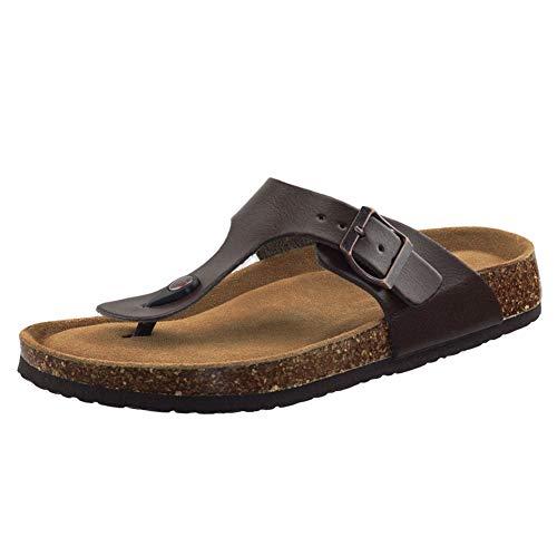 Women's Comfortable Flip-Flops with Adjustable Straps Anti-Slip Sole Sandals 10 M US Brown