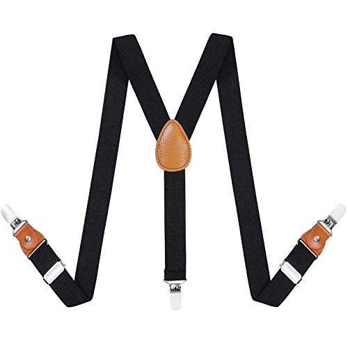 Toddlers Kids Boys Mens Suspenders - Y Back Adjustable Strong Clips Synthetic Leather Suspenders (23.6 Inch (7 Months - 3 Years), Black)