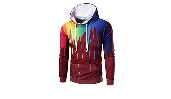 Hombres Sweatshirts con capucha, lmmvp Hombres Impresión Digital occasionnel mango larga - Sudadera con capucha mezcla de algodón con tapa sudadera ...