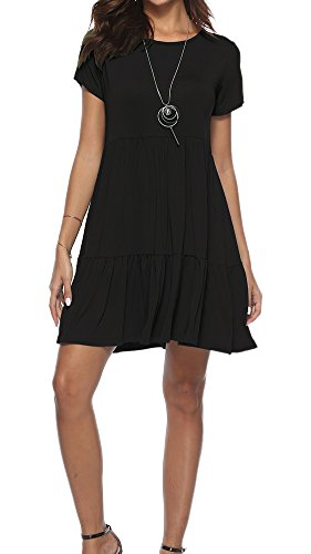for Ruffled Dress Sleeve Dresses Round Summer Shirt Swing Women Loose Neck Short T Casual Black Camisunny xwOqIEYW