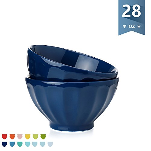 Sweese Porcelain Fluted Latte Bowl Set - 28 Ounce Stable and Deep - Microwavable Bowls for Cereal, Soup - Set of 2, Navy