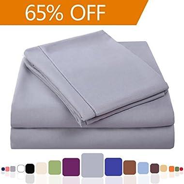 Balichun Luxury 4-Piece Bed Sheet Set with 18  Deep Pocket Microfiber Sheets(Grey,Queen)