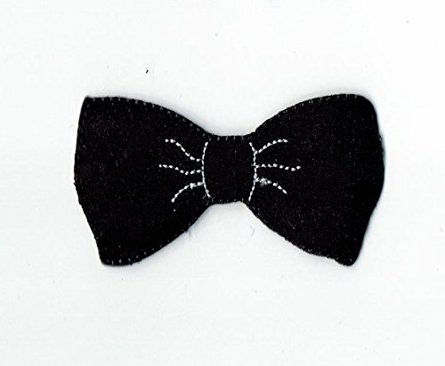 Black Hipster Bowtie Iron on Embroidered Patch