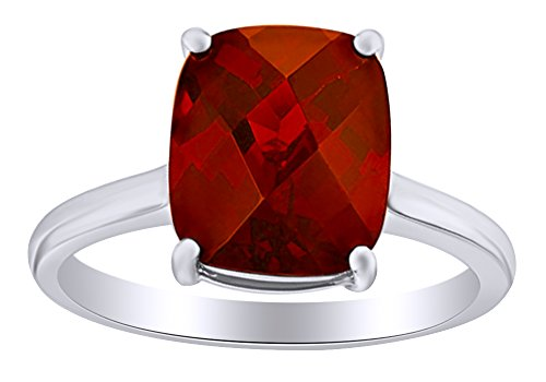 1.5 Ct Cushion Cut Simulated Garnet Solitaire Engagement Ring in 14k White Gold Over Sterling Silver Ring Size - 6.5 (Cushion Cut Garnet Fashion Ring)