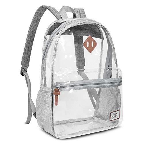 [해외]여성남성용 클리어 백투명 백 캐주얼 시스루 배낭을 확대하여 이미지를 롤오버(그레이) / Roll over image to zoom in Clear Backpack Transparent Bag Casual See-Through Rucksack for WomenMen (Grey)