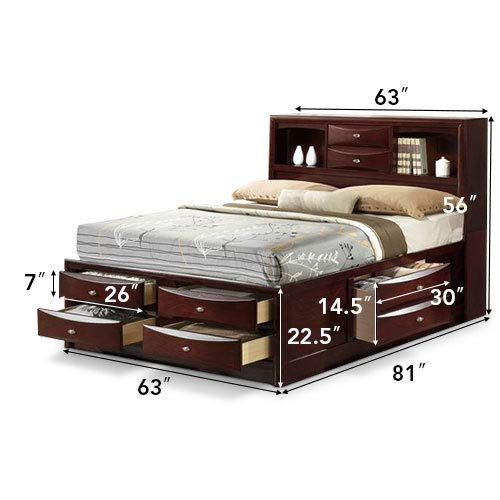 KCHEX>>>Queen Size Bed Storage Bed Drawers and Bookcase Headboard Bedroom Furniture>are You Still fretting About not Having Enough Storage in Your Bedroom? Our Storage Bed can Meet Your Needs ()