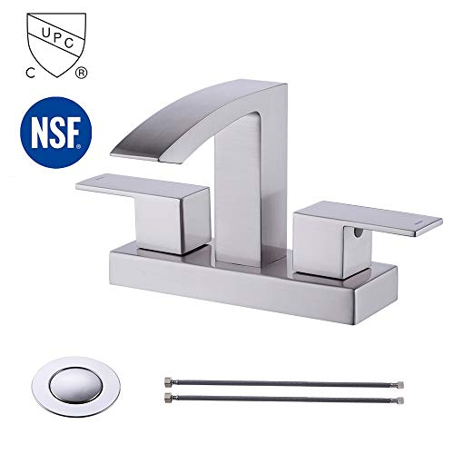 (KES cUPC NSF Certified BRASS Two Handle Bathroom Waterfall Faucet with Drain Assembly Lavatory Vanity Sink Faucet 4-Inch Centerset Morden Square Hotel Style Brushed Nickel,)