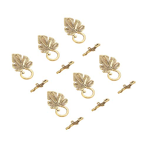 Toggle Leaf Bracelet - Pandahall 10 Sets Antique Golden Leaf Shape Tibetan Silver Toggle Clasps Lead Free and Cadmium Free for Jewelry Making