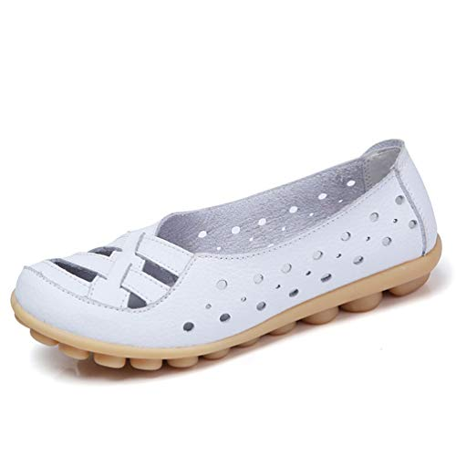 Women Flats Breathable Genuine Leather Shoes Women Moccasins Soft Zapatos Mujer Women Casual Shoes White Slip On Loafers