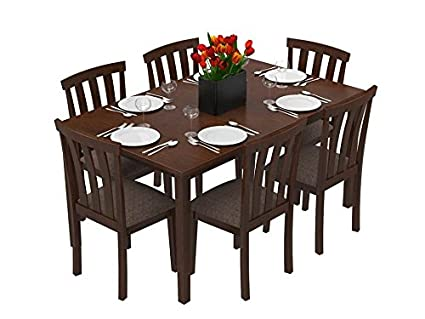 Forzza Miami Six Seater Solid Wood Dining Table Set Brown Oak