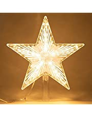 Christmas Tree Topper Star Warm Wit Licht Kerstboom Decor Verlicht Star Tree Topper Led Light Up Lighted Star For Christmas Holiday Home Fit Voor Algemene Maat Xmas Tree, 8.7 Inch