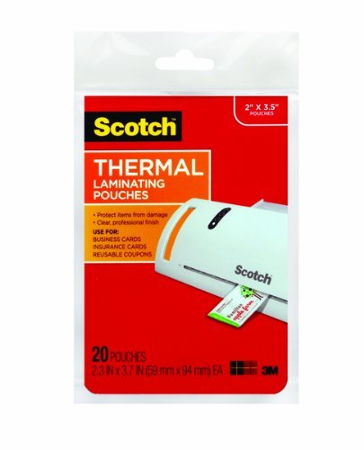 plastificar Scotch térmica, 2.36 pulgadas x 3,74 cm, 20 ...