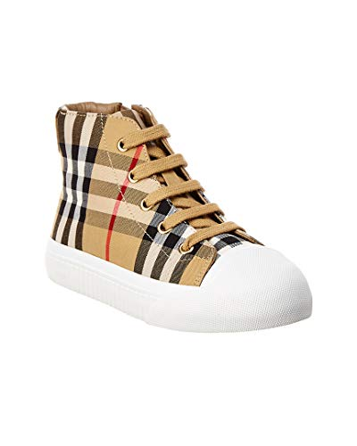 BURBERRY Vintage Check Leather High-Top Sneaker, 33, Brown from BURBERRY