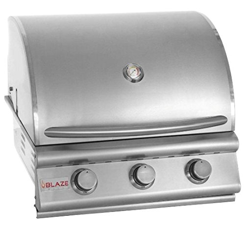 Blaze - Built In 25 Inch 3 Burner Grill! Your Choice Of Propane or Natural Gas - BLZ-3-LP & BLZ-3-NG - With FREE Grill Cover From Premier Grilling (25'' Natural Gas) by 3 Burner Blaze