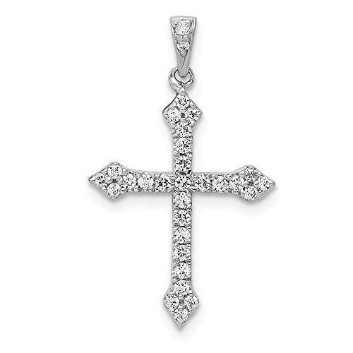 14k White Gold Diamond Cross Pendant ()