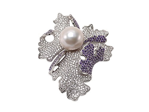 JYX 15.5mm Huge White Round Edison Pearl Brooch Pendant with Zircons