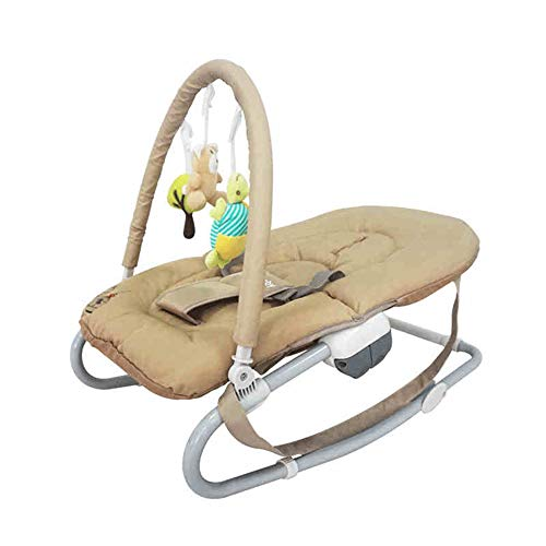 HQYXGS Baby Rocking Chair with Toy Bar, Adjustable Backrest, Three-Point Seat Belt, Suitable for 0-18 Months Newborn Baby Cradle (Brown)