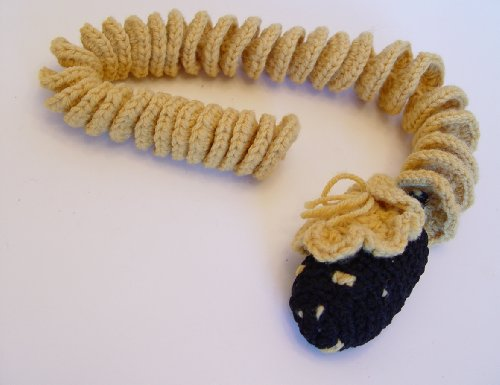 Vintage Hand Crocheted Silly Gold Snake with Black Head 27