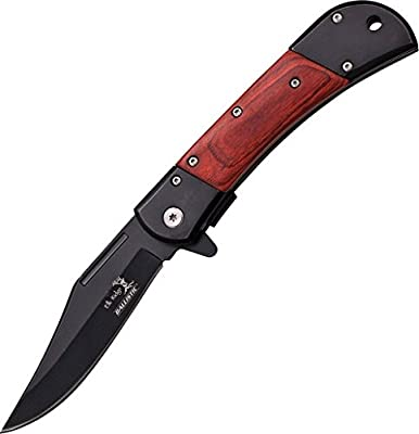 Elk Ridge ER-A009 Series Spring Assist Folding Knife, Straight Edge Blade, 4.75-Inch Closed