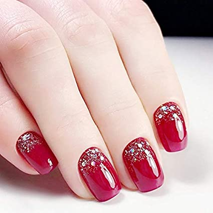 24 Stiletto falsas uñas postizas rojo purpurina uñas francesas acrílico largo redondo natural uñas UK