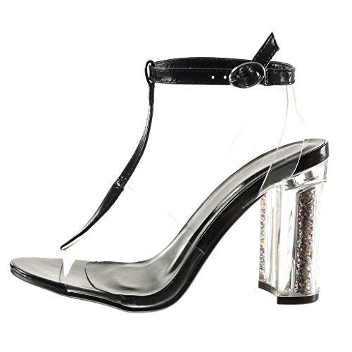 Angkorly - Chaussure Mode Sandale salomés sexy femme transparent pailettes lanière Talon haut bloc 10 CM - Noir