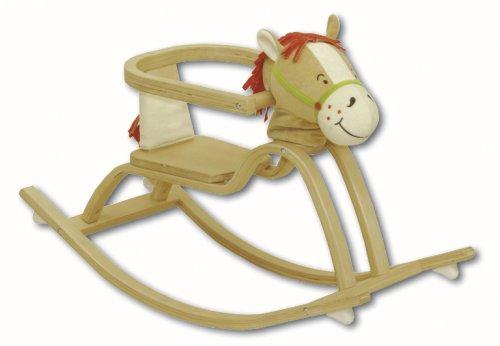 Schaukelspielzeug ab 12 Monate Schaukeltier aus Holz mit gepolstertem Pferdekopf /& Sound Schaukelsitz m roba Schaukelpferd Pferdchen Schutzring