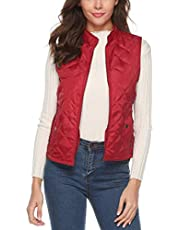 Gihuo Women's Quilted Padded Puffer Vest Gilet Removable Hood