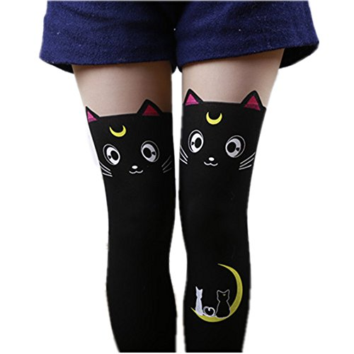 [MIUNIKO Women's Cute Anime Sailor Moon Luna Cat Printing Legging Tights Socks Cosplay Costume Pantyhose (Black)] (Sailor Moon Cat Costume)