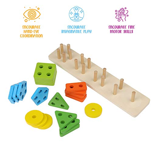 Wooden Stacking Montessori Toys by Boxiki Kids. Colorful Shape Sorter Stacker. Baby Wooden Toys for Early Development & Fine Motor Skills for 1 2 3 Years Old Boys & Girls (Geometric 5-Shapes)