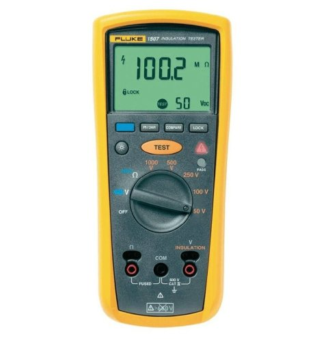 Fluke 1507 Digital Megohmmeter, 50/100/250/500/1,000V Test Voltages, 10 Gigaohms Insulation Resistance, 20 Kilohms Low-Resistance, 600V Voltage Detection by Fluke