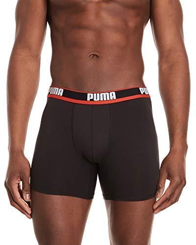 PUMA Men's 3Pk Moisture Wicking Performance Boxer Briefs (Large, Black/Red)