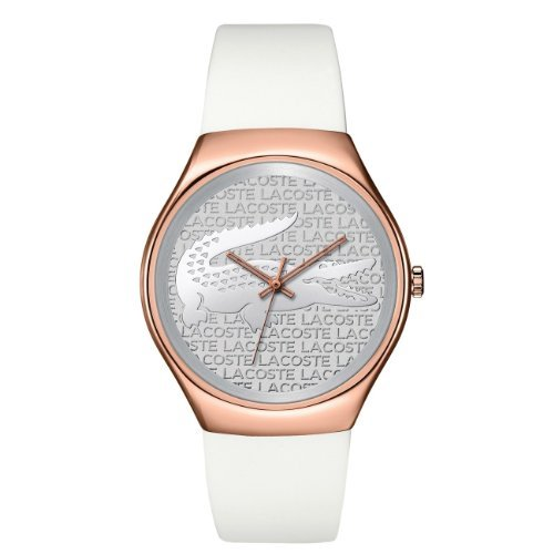 Lacoste 2000788 38mm Rose Gold Case White Silicone Mineral Women's Watch
