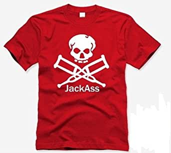 Dress Hope Male and Female Cotton Short-sleeved T-shirt Jackass Moron Funny Show 004 (XL, red)