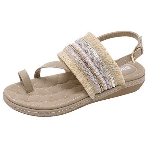 - BEAUTYVAN Womens Slingback Toe Loop Bohemia Ethnic Tassel Ankle Strap Thong Sandals Flip Flops (EU:37=US:6-6.5, Beige)
