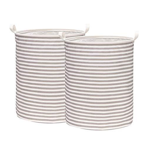 HOMVILLA Large Laundry Basket, Collapsible Fabric Laundry Hamper, Waterproof Round Cotton Linen Foldable Laundry Bag Folding Washing Bin with Comfort Handles