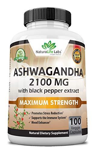 Organic Ashwagandha 2,100 mg – 100 Vegan Capsules Pure Organic Ashwagandha Powder and Root Extract – Stress Relief, Mood…
