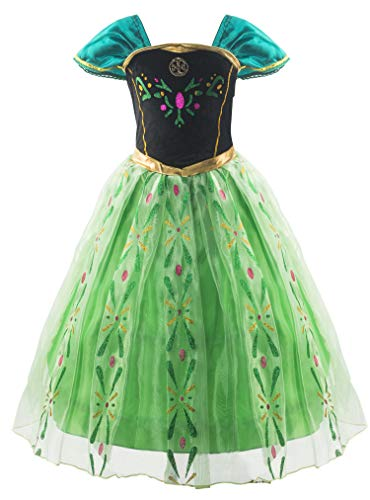 Padete Little Girls Anna Princess Dress Elsa Snow Party Queen Halloween Costume (6 Years, Green) -