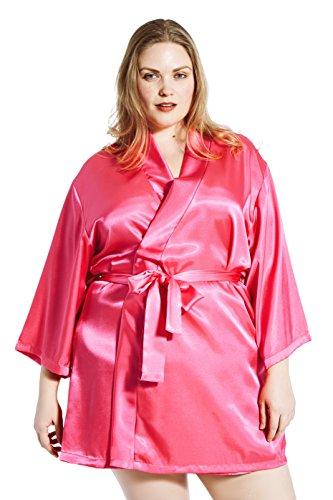 (Jovannie Satin Robe Plus Size 3/4 Sleeve with Matching Sash Short Length (Fuchsia, 4X))