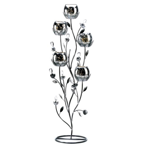 Gifts & Decor Silver Tulip Tree Candelabra Centerpiece Candle Stand
