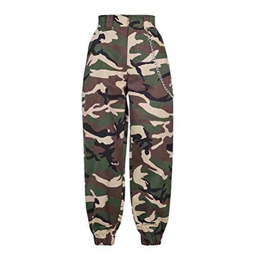 (YAXAN Women's Casual High Waist Elastic Belted Feet Cropped Pants Trouser with Chain Jogger (Color : Camouflage, Size : L))