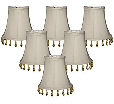 (6 Pack) Royal Designs Gray Beaded Bell Chandelier Lampshade, 3 x 5 x 4 (CS-314B-5GR-6)