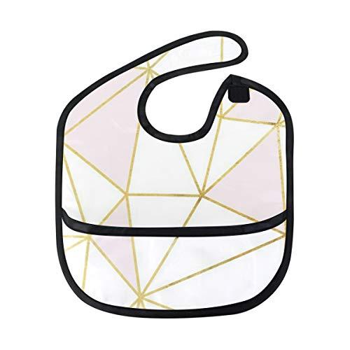 Baby Bib with Catcher Pocket Burp Cloth Feeding Bib (Fresh Rose Gold Marble) ()
