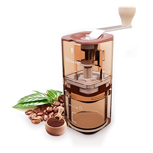 - Manual Coffee Grinder, Portable Adjustable Ceramic Conical Hand Burr Mill, 2019 Upgraded, 100% BPA Free Compact Size Perfect for Home, Office, Travel