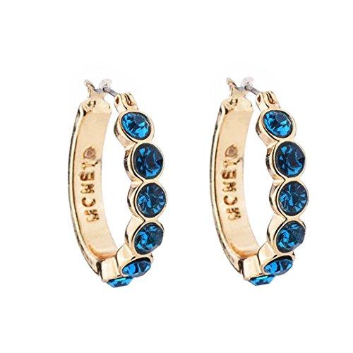 Hollow Tube Gold Cross - Lethez Clearance 1 Pair Women Rhinestone Hoop Earrings, Round-Tube Click-Top Loop Earrings Circle Hoop Ear Clip (Blue)